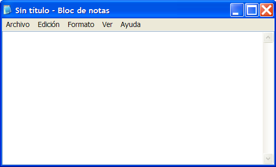 Aspecto sencillo del Notepad de Windows